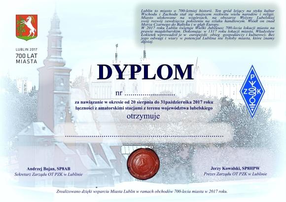 700 lat Miasta Lublin - dyplom